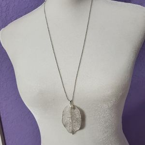 Silver Real Leave Long Necklace B3